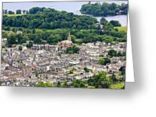 Aerial View Of Keswick In The Lake District Cumbria Greeting Card