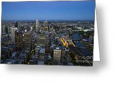 Aerial View Of Melbourne At Night Greeting Card