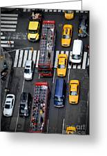 Aerial View Of New York City Traffic Greeting Card by Amy Cicconi
