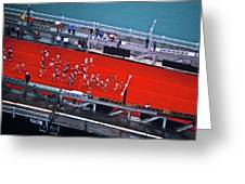 Aerial View Of People Running Greeting Card