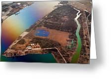 Aerial View Of Riga. Latvia. Rainbow Earth Greeting Card