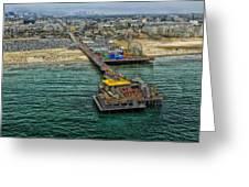 Aerial View Of Santa Monica Pier Greeting Card
