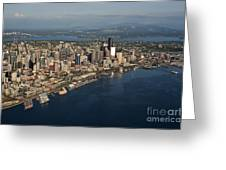 Aerial View Of Seattle Skyline With Elliott Bay And Ferry Boat Greeting Card
