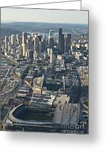 Aerial View Of Seattle Skyline With The Pro Sports Stadiums Greeting Card