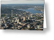 Aerial View Of Space Needle And Lake Union Greeting Card
