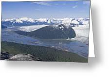 Aerial View Of Taku River, Taku Glacier Greeting Card