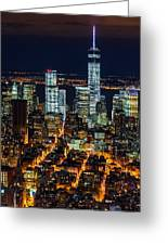 Aerial View Of The Lower Manhattan Skyscrapers By Night Greeting Card