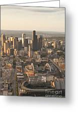 Aerial View Of The Seattle Skyline With Stadiums Greeting Card