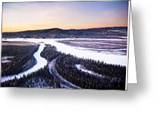 Aerial View Of The Tanana River Valley Greeting Card