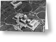 Aerial View Of U.s. Capitol Greeting Card