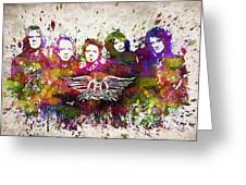 Aerosmith In Color Greeting Card by Aged Pixel