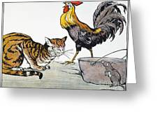 Aesop: Cat, Cock, And Mouse Greeting Card