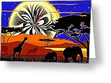Africa At Sunset  Greeting Card