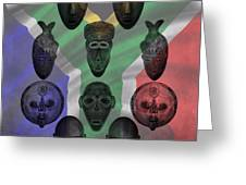 Africa Flag And Tribal Masks Greeting Card