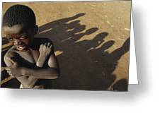 African Boy, Bare-chested, Arms Crossed Greeting Card