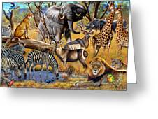 African Collage Greeting Card by Cynthie Fisher