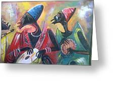 African Drumming Group Greeting Card