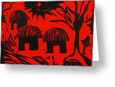 African Huts Red Greeting Card