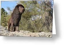 African Lion Sculpture Detail Greeting Card