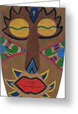 African Mask Greeting Card by Bav Patel