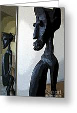 African Statue Reflection Greeting Card