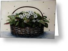 African Violets In Basket Greeting Card