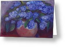 African Violets Greeting Card by Susan Hanlon