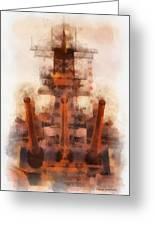 Aft Turret 3 Sun Down Uss Iowa Battleship Photo Art 01 Greeting Card