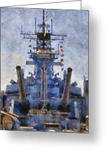 Aft Turret 3 Uss Iowa Battleship Photoart 02 Greeting Card