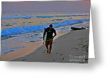 After A Long Day Of Surfing Greeting Card by John Malone
