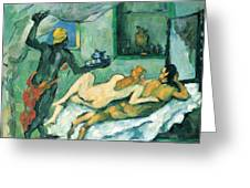 After Lunch In Naples By Cezanne Greeting Card