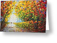 After Rain Autumn Reflections Acrylic Palette Knife Painting Greeting Card