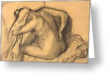 After The Bath .woman Drying Her Hair Greeting Card