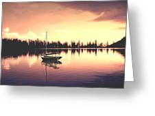 Afterglow  Sunset On Lake Sailboat Panoramic Picture Greeting Card