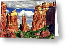 Afternoon Cathedral Rocks Saddle View Red Rock State Park Sedona Arizona Greeting Card