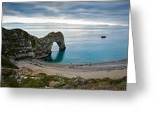 Afternoon Cloud Breaking Up At Durdle Door Greeting Card