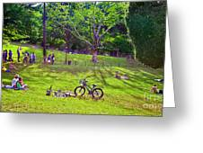 Afternoon In The Park With Friends Greeting Card