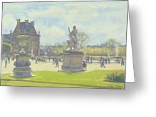 Afternoon In The Tuileries, Paris Oil On Canvas Greeting Card
