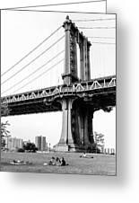 Afternoon Under The Manhattan Bridge - Brooklyn Bridge Park Greeting Card
