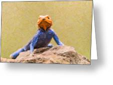 Agama Lizard On Rock Greeting Card