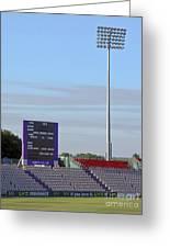 Ageas Bowl Score Board And Floodlights Southampton Greeting Card