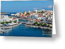 Agios Nikolaos Town Greeting Card by Luis Alvarenga