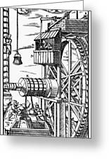 Agricola Waterwheel, 1556 Greeting Card