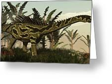 Agustinia Dinosaur Walking Amongst Greeting Card