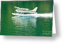 Aircraft Seaplane Taking Off On Calm Water Of Lake Greeting Card
