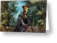 Airedale Terrier Art Canvas Print - Forest Landscape With Deer Hunting And Noble Lady Greeting Card