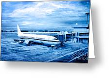 Airplane At Aerobridge Greeting Card by William Voon