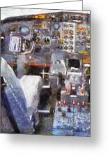 Airplane Cockpit Photo Art Greeting Card