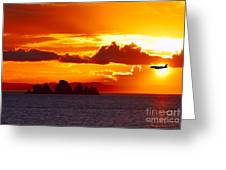 Airplane Over An Island In Newfoundland Greeting Card