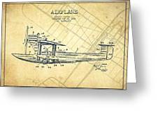 Airplane Patent Drawing From 1921-vintage Greeting Card